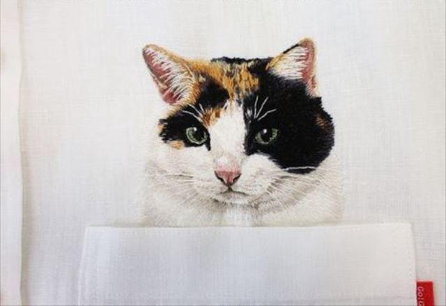 写真じゃないの!?クボタヒロコ(hiroko)さんの猫刺繍シャツがすごすぎる!